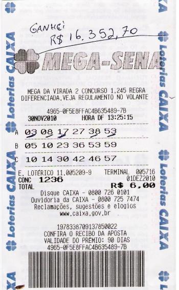 Bilhete Mega Sena da Virada Premiado