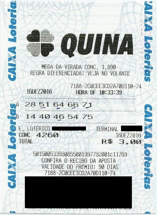 bilhete premiado quina