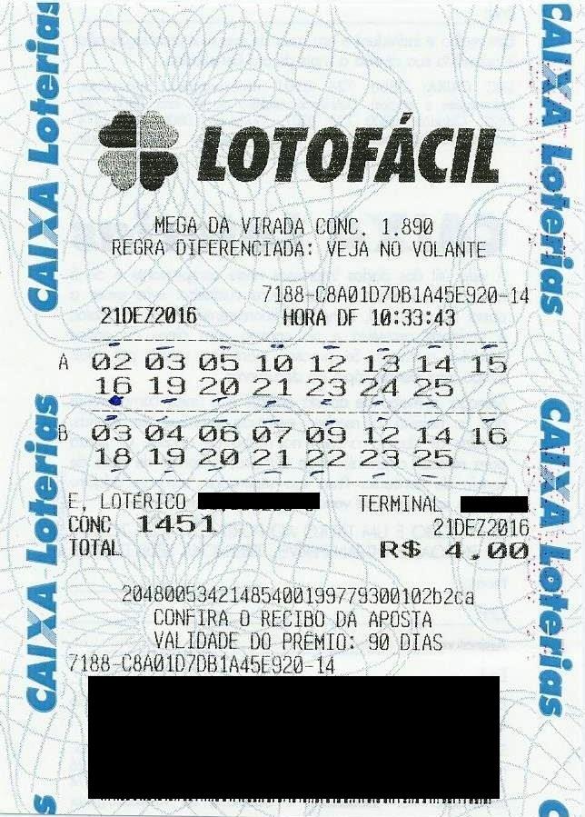 bilhete premiado lotofacil